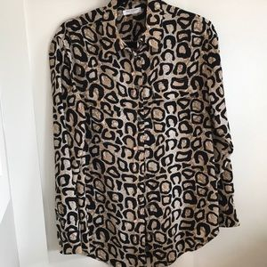 Women's Equipment Silk Leopard Blouse